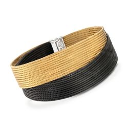 "ALOR ""Noir"" Yellow and Black Stainless Steel Cable Bracelet, , default"