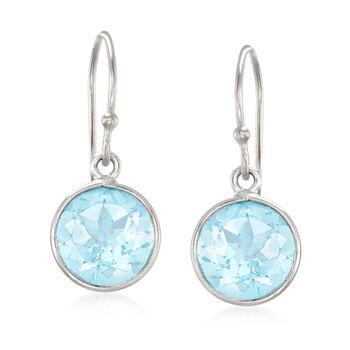 5.00 ct. t.w. Blue Topaz Drop Earrings in Sterling Silver, , default