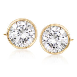 3.00 ct. t.w. Bezel-Set CZ Stud Earrings in 14kt Yellow Gold, , default