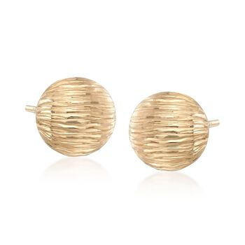 14kt Yellow Gold Button Earrings , , default