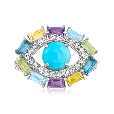 Turquoise and 1.80 ct. t.w. Multi-Gemstone Evil Eye Ring in Sterling Silver