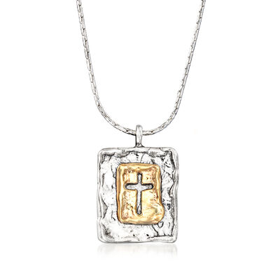 Sterling Silver and 14kt Yellow Gold Cross Pendant Necklace