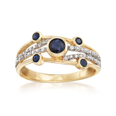 .40 ct. t.w. Sapphire Bezel-Set Ring with Diamond Accents in 14kt Yellow Gold, , default