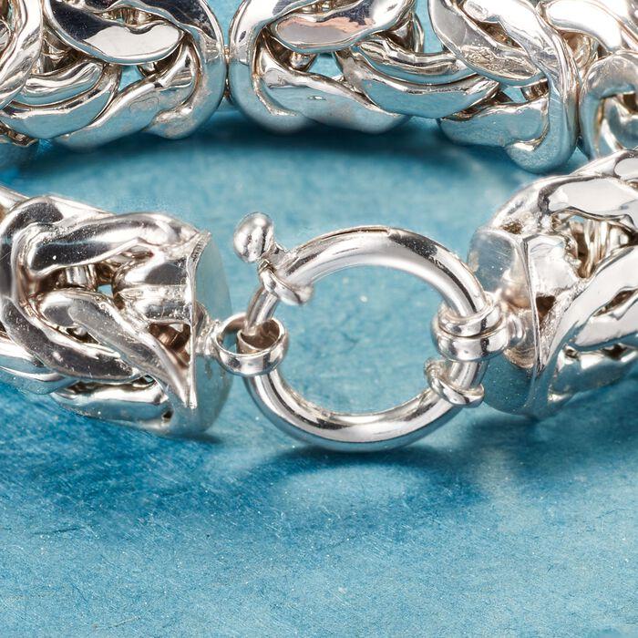 Sterling Silver Wide Byzantine Bracelet