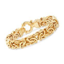 Italian 24kt Gold Over Sterling Silver Byzantine Bracelet, , default