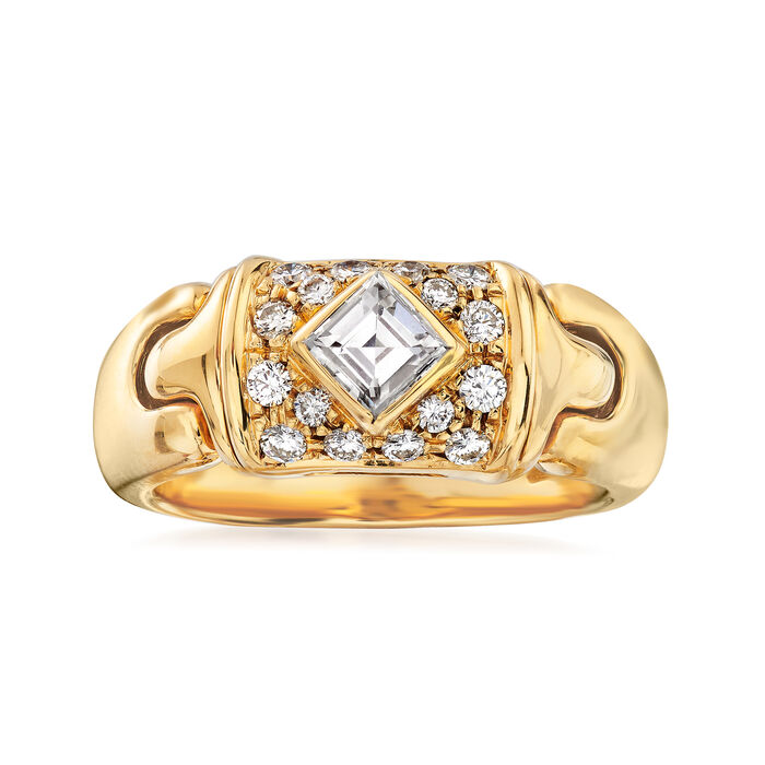 C. 1980 Vintage Bulgari .59 ct. t.w. Diamond Ring in 18kt Yellow Gold. Size 5