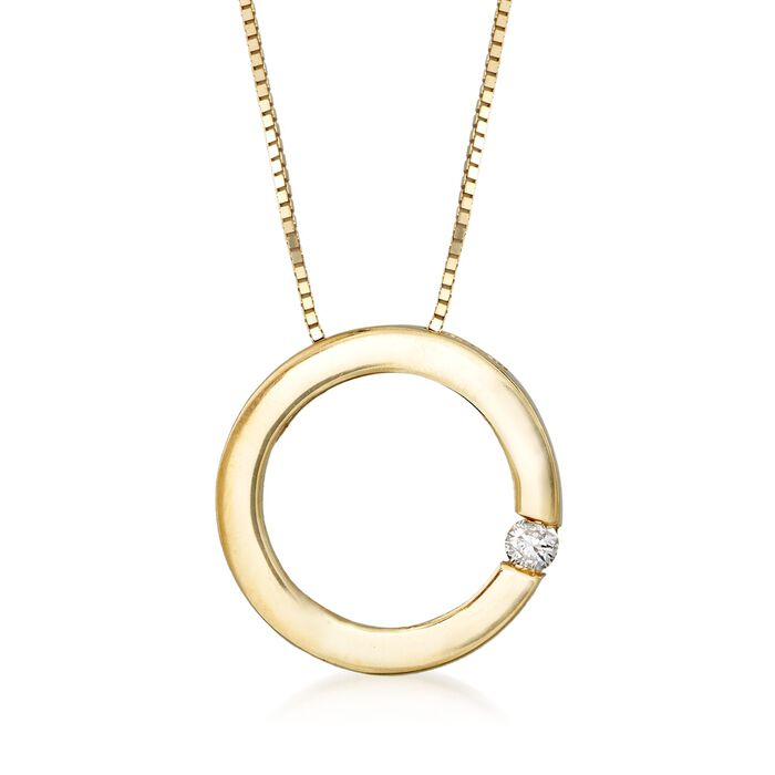 14kt Yellow Gold Open Circle Necklace with Diamond Accent, , default
