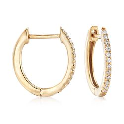 ".10 ct. t.w. Diamond Huggie Hoop Earrings in 14kt Yellow Gold. 3/8"", , default"