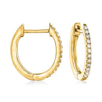 ".10 ct. t.w. Diamond Huggie Hoop Earrings in 14kt Yellow Gold. 3/8"", , default"