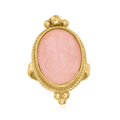 Italian Pink Venetian Glass and Mother-Of-Pearl Ring in 18kt Gold Over Sterling