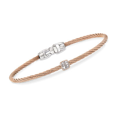 "ALOR ""Classique"" Blush Stainless Steel Cable Bracelet with Diamond Accents and 18kt Rose Gold"