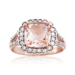 3.30 Carat Morganite and .21 ct. t.w. Diamond Ring in 14kt Rose Gold, , default