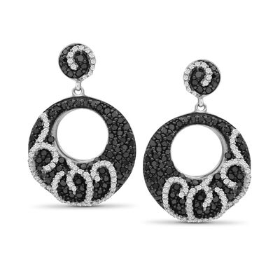 1.05 ct. t.w. Black and White Diamond Open Circle Drop Earrings in Sterling Silver, , default