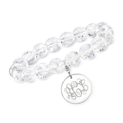 Crystal Bead Bracelet with Sterling Silver Personalized Disc Charm
