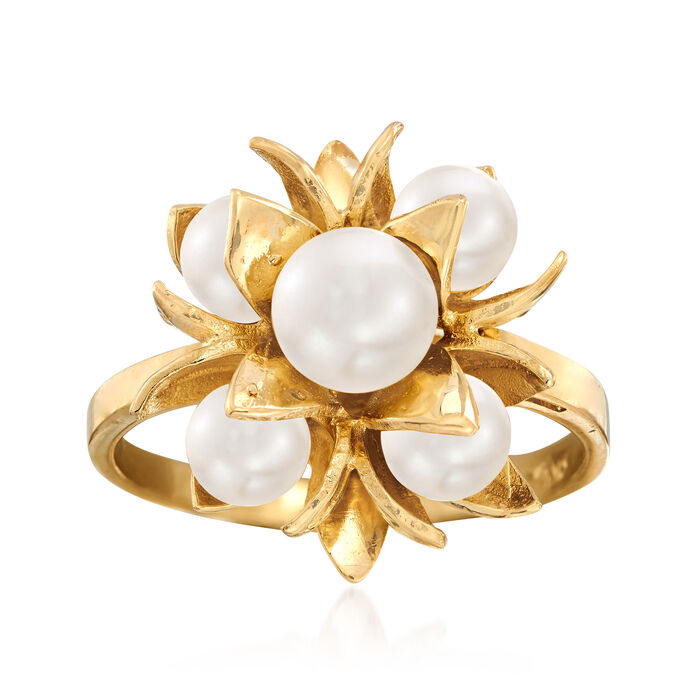 C. 1970 Vintage 5x6mm Cultured Akoya Pearl Flower Cluster Ring in 14kt Yellow Gold. Size 7