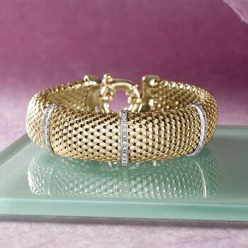 Italian .15 ct. t.w. Diamond Bar Mesh Bracelet in 18kt Yellow Gold Over Sterling , , default
