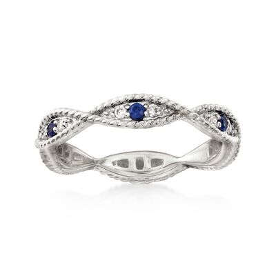 .12 ct. t.w. Diamond and .10 ct. t.w. Sapphire Milgrain Twist Eternity Band in 14kt White Gold, , default