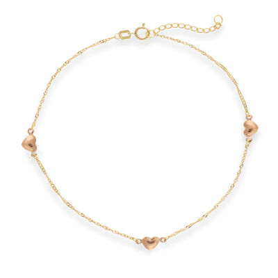 14kt Two-Tone Gold Heart Station Anklet, , default