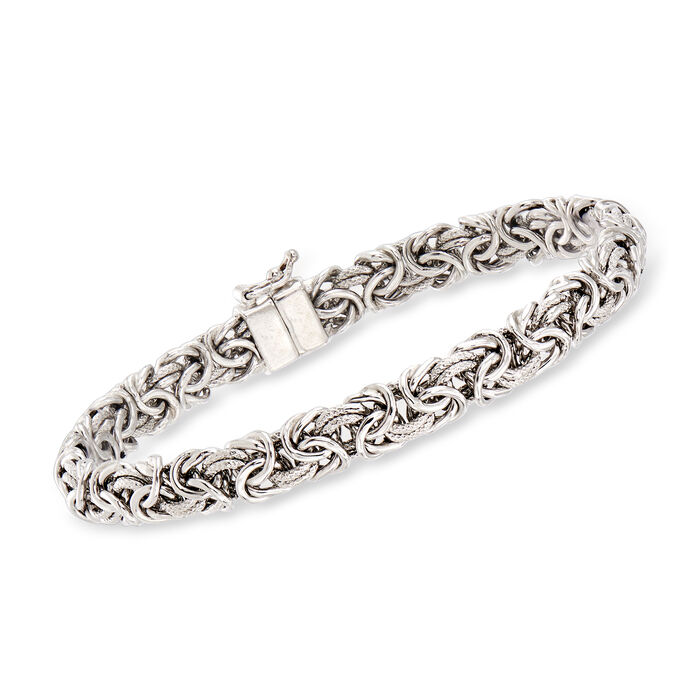 Sterling Silver Byzantine Bracelet with Magnetic Clasp, , default