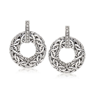 .14 ct. t.w. Diamond Byzantine Doorknocker Earrings in Sterling Silver