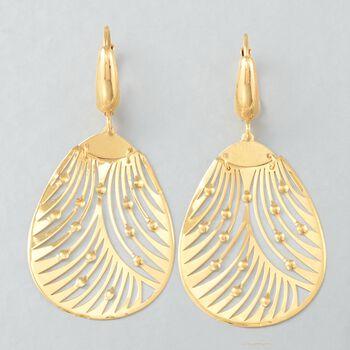 Italian 18kt Yellow Gold Openwork Drop Earrings, , default