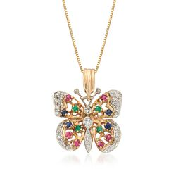 "C. 1990 Vintage .76 ct. t.w. Multi-Stone Butterfly Pendant Necklace With Diamonds in 14kt Yellow Gold. 16"", , default"