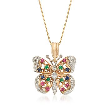 """C. 1990 Vintage .76 ct. t.w. Multi-Stone Butterfly Pendant Necklace With Diamonds in 14kt Yellow Gold. 16"""", , default"""