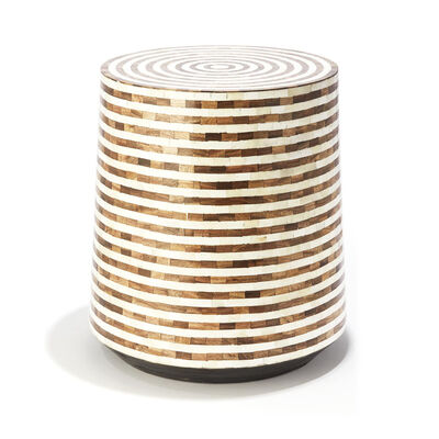 White and Brown Mosaic Wooden Side Table, , default
