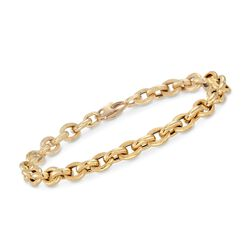 "Italian 18kt Yellow Gold Textured and Polished Cable-Link Bracelet. 8"", , default"