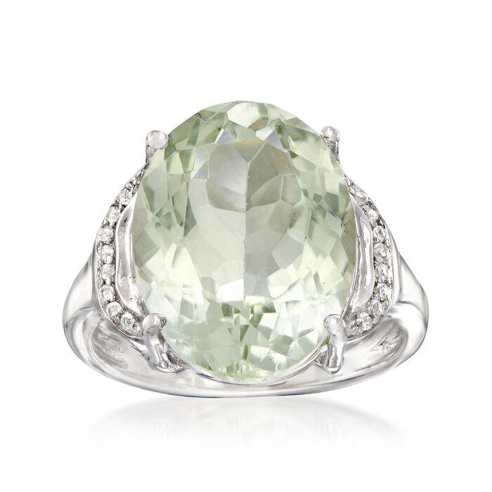 7.50 Carat Green Prasiolite Ring in Sterling Silver, , default