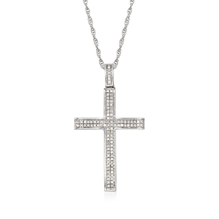 .14 ct. t.w. Diamond Double-Row Cross Pendant Necklace in Sterling Silver