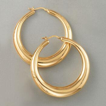 Italian 18kt Yellow Gold Large Graduated Hoop Earrings