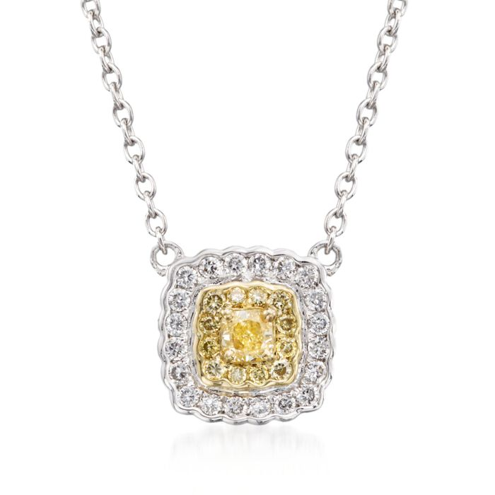 """Gregg Ruth .28 ct. t.w. Yellow and White Diamond Pendant Necklace in 18kt Two-Tone Gold. 16"""""""