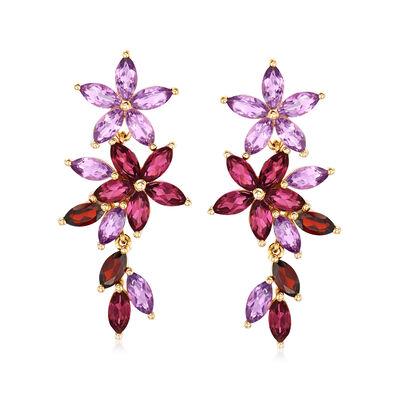 7.30 ct. t.w. Multi-Gemstone Floral Drop Earrings in 18kt Gold Over Sterling, , default