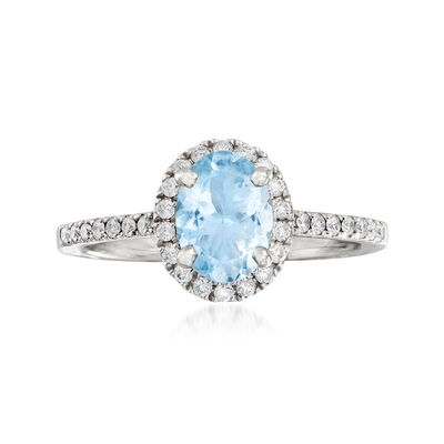 C. 2000 Vintage 1.15 Carat Aquamarine and .25 ct. t.w. Diamond Halo Ring in 18kt White Gold, , default