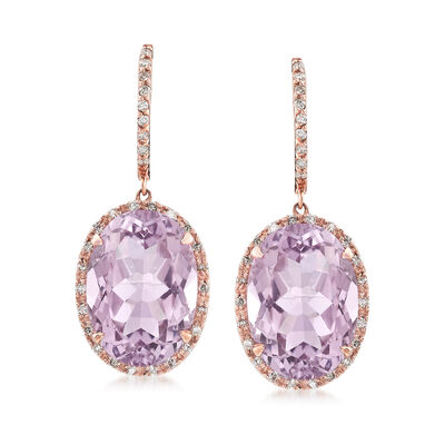 12.00 ct. t.w. Amethyst and .33 ct. t.w. Diamond Drop Earrings in 14kt Rose Gold, , default
