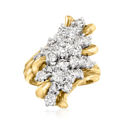 C. 1986 Vintage 1.75 ct. t.w. Diamond Cluster Ring in 14kt Yellow Gold