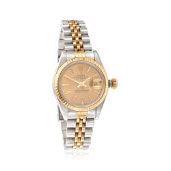 C. 1990 Vintage Rolex Datejust Women's 26mm Automatic Stainless and 18kt Gold Watch With Sapphires. Size 7, , default