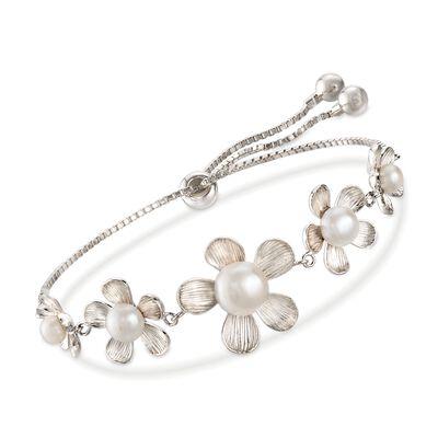 4-8.5mm Cultured Pearl Flower Bolo Bracelet in Sterling Silver, , default