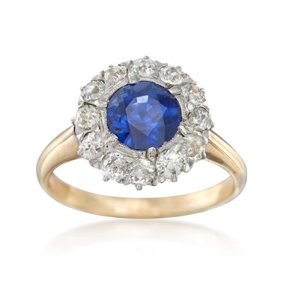 C. 1900 Vintage 1.30 Carat Sapphire and 1.20 ct. t.w. Diamond Ring in Platinum and 14kt Yellow Gold, , default