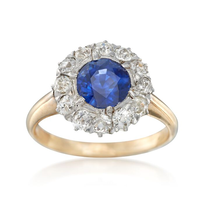 C. 1900 Vintage 1.30 Carat Sapphire and 1.20 ct. t.w. Diamond Ring in Platinum and 14kt Yellow Gold. Size 5.5, , default