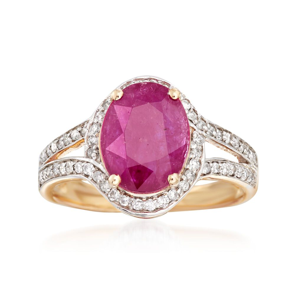 2.60 Carat Ruby and .31 ct. t.w. Diamond Ring in 14kt Yellow Gold ...