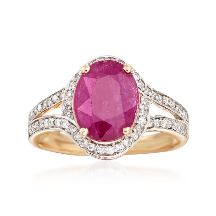 2.60 Carat Ruby and .31 ct. t.w. Diamond Ring in 14kt Yellow Gold, , default