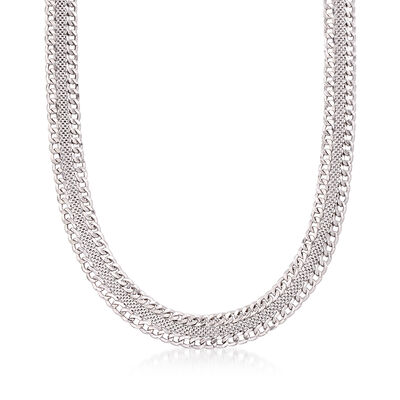 Italian Sterling Silver Mesh and Curb-Link Necklace