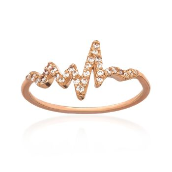 .15 ct. t.w. CZ Heartbeat Ring in 14kt Rose Gold, , default