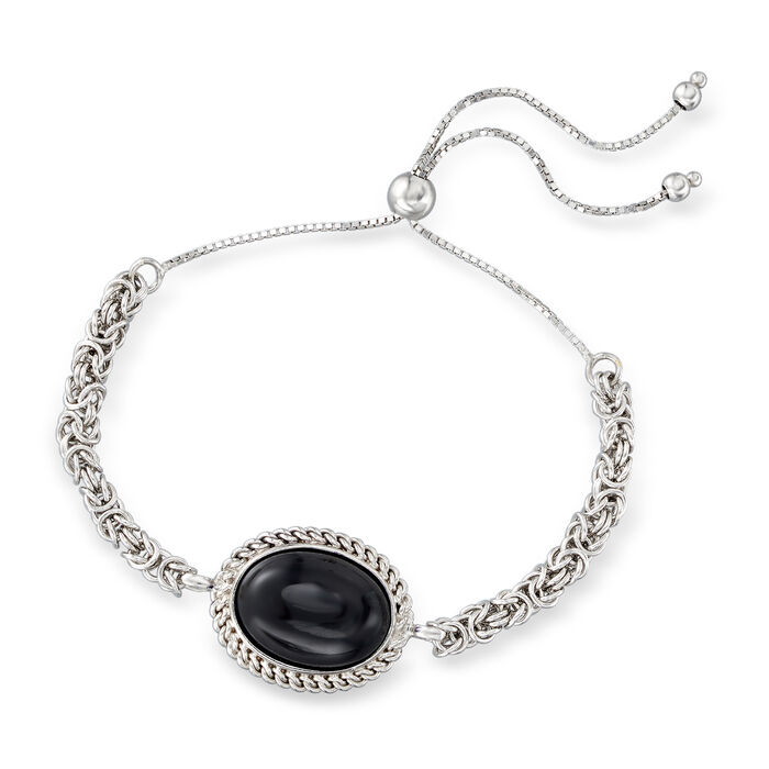 Black Onyx Byzantine Bolo Bracelet in Sterling Silver