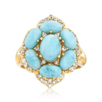 Larimar and .50 ct. t.w. White Topaz Ring in 18kt Yellow Gold Over Sterling Silver. Size 6, , default
