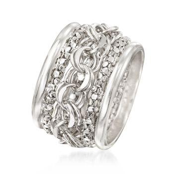 Sterling Silver Multi-Link Ring. Size 6, , default