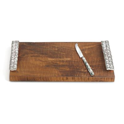 "Michael Wainwright ""Truro"" Wooden Cheese Tray and Stainless Steel Knife with Platinum, , default"