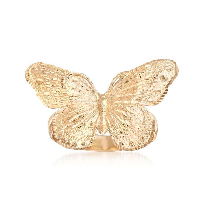 Italian 18kt Yellow Gold Diamond-Cut Butterfly Ring, , default